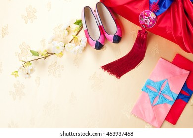Korean traditional gift box on Silk background