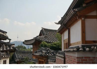Korean traditional house and Namsan tower