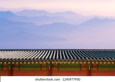 Korean traditional new year's background with the sunrise.