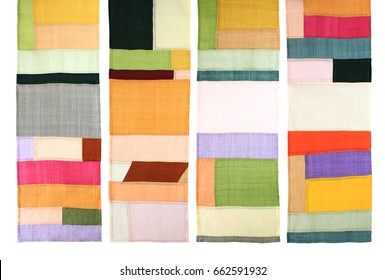 Korean traditional patchwork background of ramie fabric by hand-made.