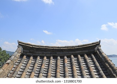 Korean traditional roof with blue sky background