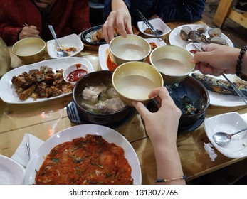 Korean traditional set table of Jeonju, with traditional rice wine(makgeolli)