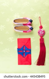 Korean traditional silk shoes and ornaments