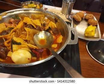 korean traditional spicy tteokbokki in tteokbokki restaurant