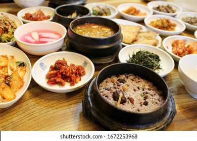 korean traditional style course food : The writing of a vessel means good luck.
