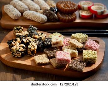 Korean traditional sweets and cookies, Yaksik, Gangjeong, puffed rice, candy,yugwa