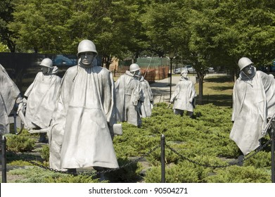 Korean War  Memorial Nineteen  statues  sculpted by Frank Gaylord of Barre, Arlington cemetery, Washington, DC