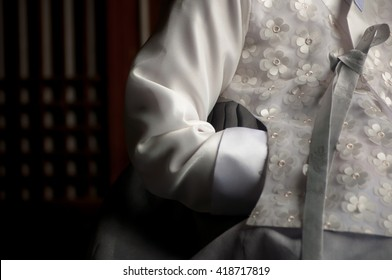 Korean white traditional dress