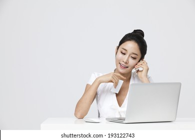 Korean woman browsing and shopping online