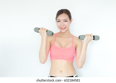 Korean woman holding dumbbell with fashion set sweet pink sexy girl, sport woman concept., isolated on white background.