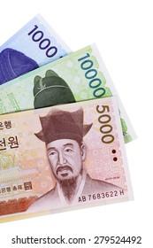 Korean Won banknotes isolated