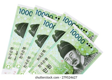 Korean Won currency bills isolated