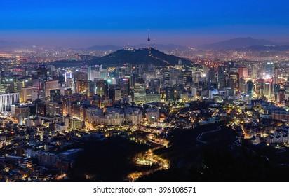 Korea,Seoul city and namsan tower  at night.