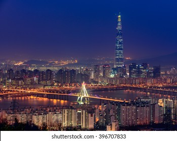 Korea,Seoul city skyline and Lotte World mall at nigth.