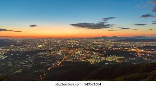 Korea,Seoul city skyline at night