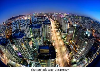 Korea,Seoul city skyline and Seoul tower at nigth