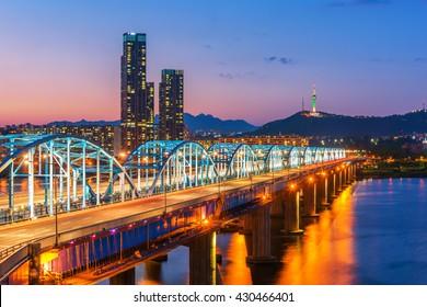 Korea,Seoul at night, South Korea city skyline at Dongjak Bridge Han river in Seoul , South Korea.