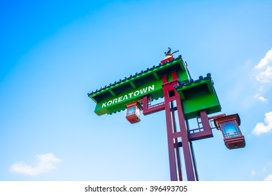 Koreatown sign against a blue sky.  Los Angeles, California, USA.