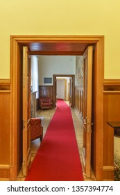 Koreiz, Yalta, Crimea, Russia - September 13, 2018: a wood-panelled Corridor to the East wing of the Yusupov Palace