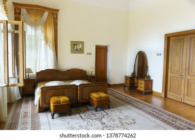 Koreiz, Yalta, Crimea, Russia - September 13, 2018: the Interior of one of the bedrooms of the apartment of I. V. Stalin at the Yusupov Palace