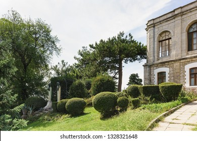 Koreiz, Yalta, Crimea, Russia-September 13, 2018: territory of Prince Yusupov Palace Park. Sculpture of a Satyr and Nymph on a Park ladder