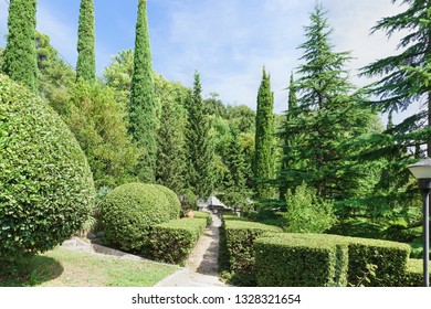 Koreiz, Yalta, Crimea, Russia-September 13, 2018: Landscape design of the Park of the Palace of Prince Yusupov. Path, framed by a clipped shrub