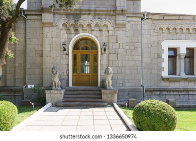 Koreiz, Yalta, Crimea, Russia-September 13, 2018: One of several entrances to Stalin's apartment in Yusupov Palace