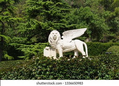 """Koreiz, Yalta, Crimea, Russia-September 13, 2018: Sculpture of a winged lion made from the painting of 1516 by V. Carpaccio """" Leo St. Mark """" opposite the main entrance to the Yusupov Palace"""