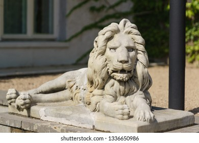 Koreiz, Yalta, Crimea, Russia-September 13, 2018: marble sculpture of the terrible lion, lying in front of the main entrance to the Yusupov Palace, built in the XIX century by architect Krasnov