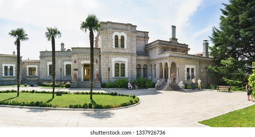 Koreiz, Yalta, Crimea, Russia-September 13, 2018: Panoramic view of the facade of the Yusupov Palace, built in the XIX century by architect Krasnov. Sunny summer day