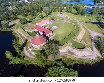 Korela Fortress (Kexholms) is original fortification located at the town of Priozersk. Aerial view. Leningrad district, northwest Russia