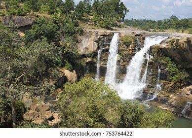 Koriya / India 21 October 2017  Amritdhara waterfall in Koriya district  is among the most famous waterfalls  is a natural waterfall which originates from the Hasdo River in Chhattisgarh India