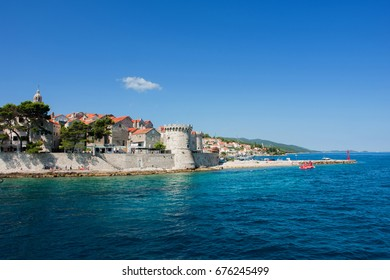 KORKULA, CROATIA - AUG 2, 2016: Harbour of the Old town of Korkula, Croatia.