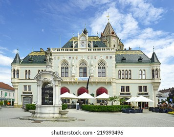 KORNEUBURG, AUSTRIA - AUGUST 9: The main square and town hall on August 9, 2014. Korneuburg is situated on the left bank of the Danube and is 12 km northwest of Vienna and is the administrative center