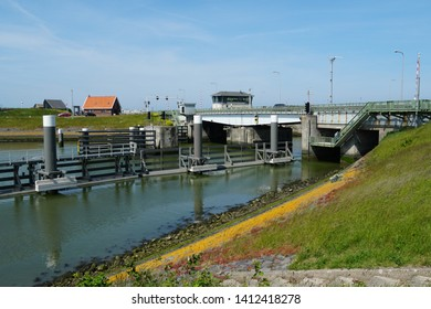 Kornwerderzand, the Netherlands. May 2019. The Lorentz water locks (Dutch: Lorentzsluizen) on the Afsluitdijk dam.