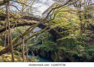 Korogibashi bridge in Yamanaka hot spring, Japan