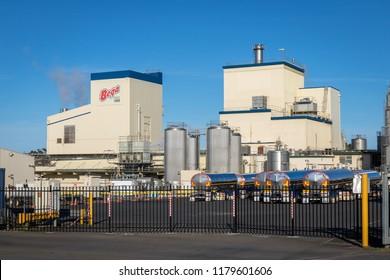 Koroit, Victoria, Australia - September 14 2018: Bega milk processing factory in Koroit. Bega has just purchased the factory from Saputo.