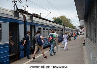 KOROLEV, RUSSIA  -  AUGUST 3, 2016: Electric train at the railway station Podlipki-Dachnye Yaroslavl direction of the Moscow railway.