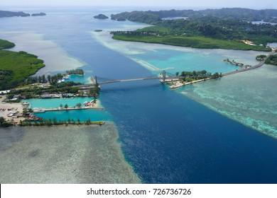 Koror Bridge beautiful areal view - Japan Palau Friendship Bridge - Best Diving/ Snorkelling - Pacific Ocean- Micronesia- Babeldaob