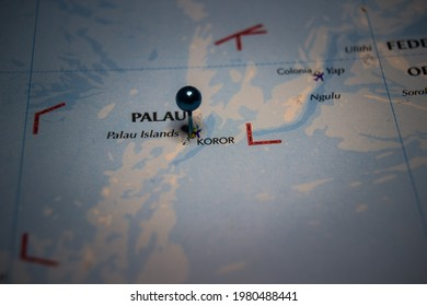 Koror, Republic of Palau pinned on geographical map