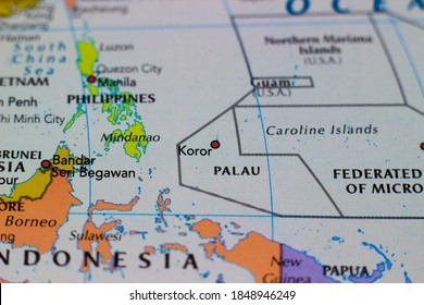 Koror, the state comprising the main commercial centre of the Republic of Palau on a geographical map