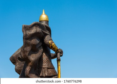 Korosten, Ukraine - June 21, 2020: rear view of the monument to King Mal, leader of the Drevlyans, an ancient Slavic tribe that later became part of Kievan Rus