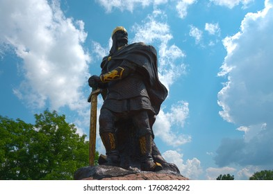 Korosten, Ukraine - June 21, 2020: Monument to King Mal, the leader of the Drevlyans, an ancient Slavic tribe, which later became part of Kievan Rus