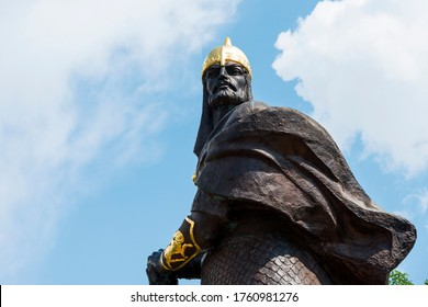 Korosten, Ukraine - June 21, 2020: The monument to Prince Mal, the leader of the Drevlyans, an ancient Slavic tribe that later became part of Kievan Rus.