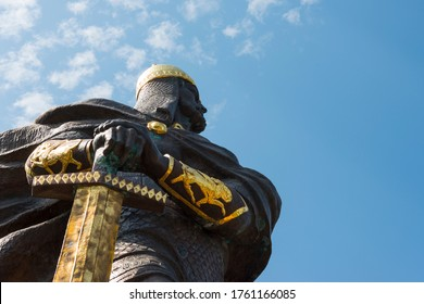 Korosten, Ukraine - June 21, 2020: The monument to Knez Mal, the leader of the Drevlyans, an ancient Slavic tribe that later became part of Kievan Rus.