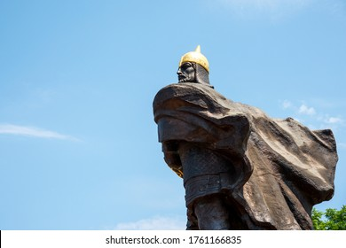 Korosten, Ukraine - June 21, 2020: side view of the monument to Prince Mal, the leader of the Drevlyans, an ancient Slavic tribe that later became part of Kievan Rus.
