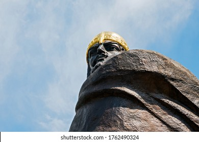 Korosten, Ukraine - June 21, 2020: The upper part of the monument to Knyaz Mal, the leader of the Drevlyans, an ancient Slavic tribe that later became part of Kievan Rus.