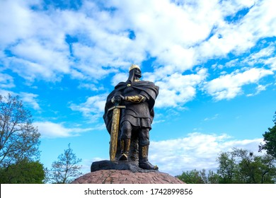 Korosten, Ukraine, - May 24, 2020 Bronze monument of the ancient Prince Mal. Sunny weather, blue summer sky.