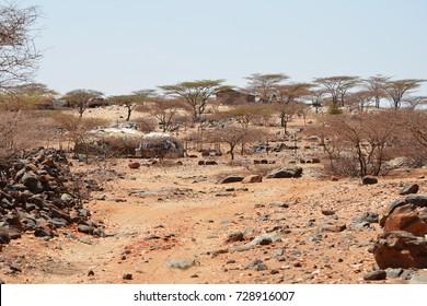 Korr, North Kenya, January 2017. Landscape picture of a Kaisut desert. Captured during humanitarian crisis caused by severe drought in 2017.