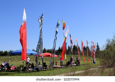 KORTRIGHT CENTER  MAY 06:  Four Winds Spring Kite Festival in May 06 2012 in Kortright Center in Ontario, Canada. Annual international  festival features participants, viewers and community groups.